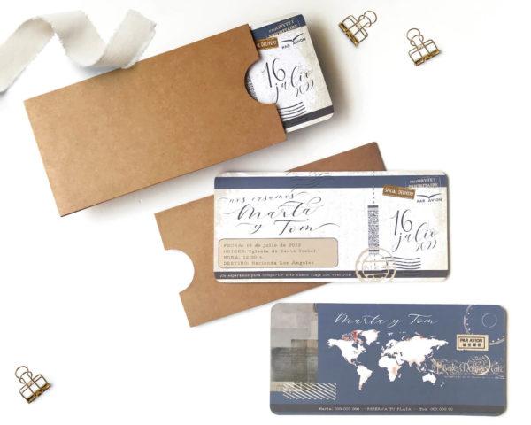 invitacion de boda billete de avion vintage