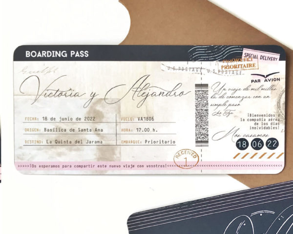 invitaciones de boda billete de avion barcelona